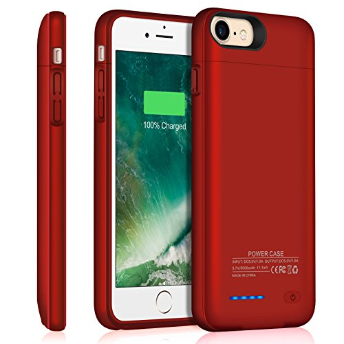 Iphone 7 8 Battery Case/Iphone 6 6S Battery Case/JUBOTY 3000mAh Slim Portable Charger Juice Pack Power Bank Battery Backup Charging Case for Iphone 7 8-Build in Magnet (Red-4.7inch)