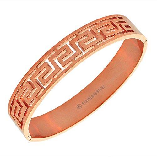 My Daily Styles Stainless Steel Rose Gold-Tone Greek Key Oval-Shape Cuff Bangle Bracelet