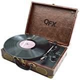 QFX TURN-105 Portable Suitcase Turntable - Faux-Weathered Brown Leather