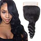Li Queen Brazillian Hair Loose Wave Lace Closure size 4×4 Top Lace Closure with Baby Hair 100% Human Hair Loose Wave Closure Free Part 1B# Colo 14 inch