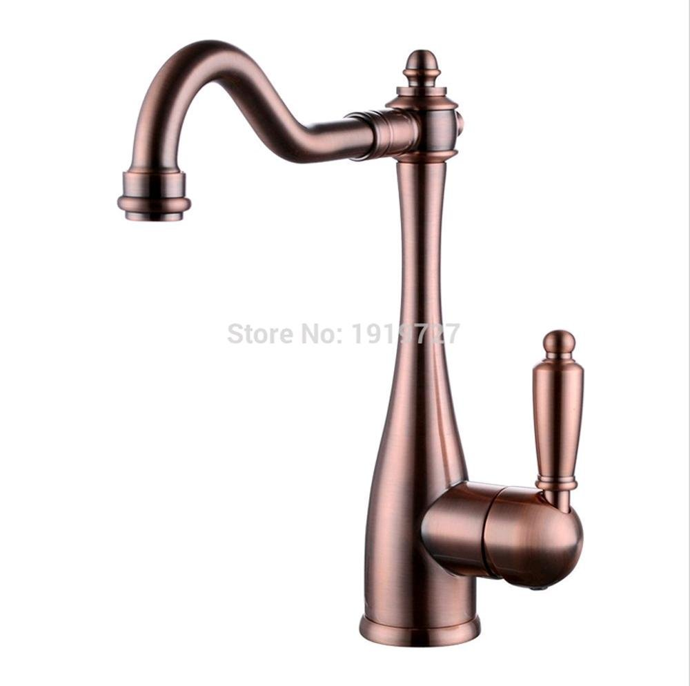 PST@ Classic Single Handle High Arc Kitchen Sink Faucet with Swivel Spout, Red Copper hot sale