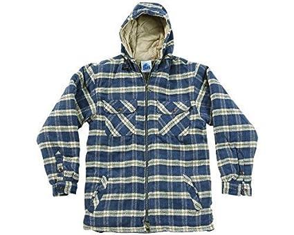 d298be206 Mens Heavyweight Warm Hooded Check Sherpa Fleece Lined Shirt Penarth Jacket  Hoodie Full Zip Superior Premium Weight Hardwearing Toggle Adjuster Hood  Work ...