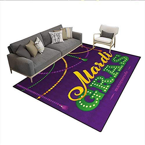 Carpet,Beads and Tassels Masquerade Theme Calligraphy Design Fun Print,Non Slip Rug Pad,Purple Marigold Fern GreenSize:6'x7' ()
