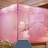 Princess mesh four corner mosquito net bed canopy, Zip Three-door Sit bed Yurt Home Double mosquito curtain-pink Twin2