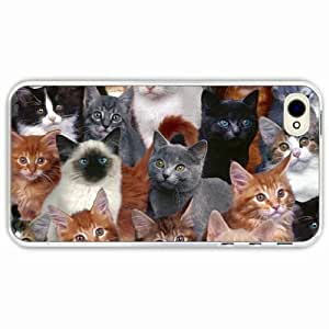 iPhone 4 4S Black Hardshell Case kittens many photoshop Transparent Desin Images Protector Back Cover