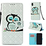 iPhone Xs Max Case, ArtMine iPhone Xs Max Wallet Case, Premium PU Leather Wristlet Flip Case Cover with Card Slots & Stand for Apple iPhone Xs Max 6.5 inch, Owl