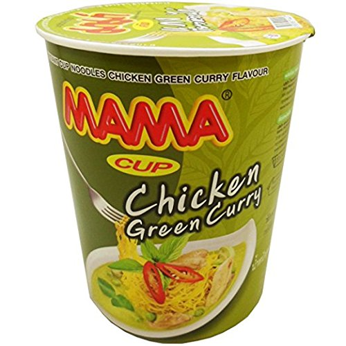 [Mama Instant Cup Noodles Chicken Green Curry Flavour Thai Original Spicy Net Wt 60 g (2.11 Oz) x 2] (Milk Eggs Cheese Costume)