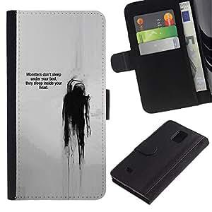 For Samsung Galaxy Note 4 IV Case , Quote Mental Head Thought - la tarjeta de Crédito Slots PU Funda de cuero Monedero caso cubierta de piel
