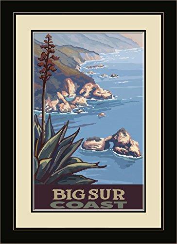 Northwest Art Mall PAL-5921 FGDM CL Big Sur California Coastline Framed Wall Art by Artist Paul A. Lanquist, 16 x - Coastline Mall