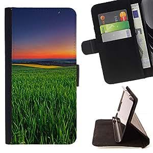 For Samsung Galaxy S4 Mini i9190 (NOT S4) Case , Green Nature Summer Evening Sunset- la tarjeta de Crédito Slots PU Funda de cuero Monedero caso cubierta de piel