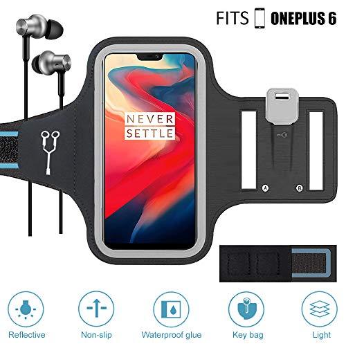 ZLFTYCL Neues Handy Schweißfest Sportarmband für OnePlus 6/6T, Reflektivband,Gesicht entsperren,Verlängerungsband, Kabelfach, Schlüsselhalter, Ideal für Laufen, Workout, Joggen (Schwarz)