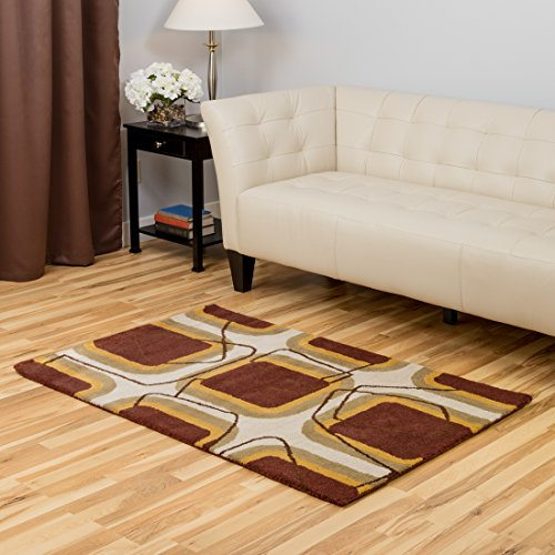 Harbormill 3 x 5 Ft. Burnt Sienna Geometric Area Rug (Sienna Burnt Wool Rug)