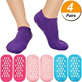 Bememo 4 Pairs Moisturizing Gel Socks Soft Spa Gel Socks for Repairing and Softening Dry Cracked Feet Skins (Pink, Rose Red, Blue and Purple)
