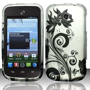 Cellphone Cover For ZTE Savvy Z750c (StraightTalk) Rubberized Design Cover - Black Vines