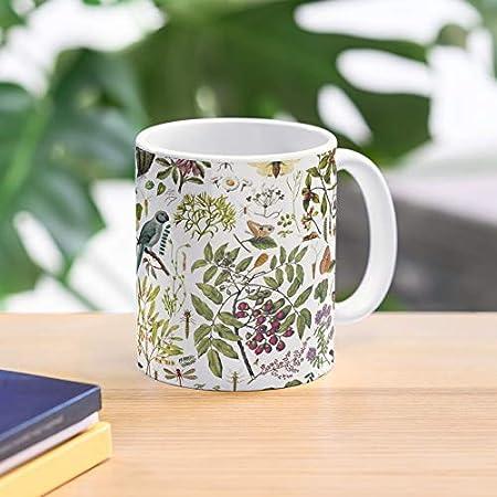 Nueva Naturaleza Pájaro detallado sin costuras zelanda biología pájaros mariposas mejor taza de café de cerámica de 11 oz Personalizar