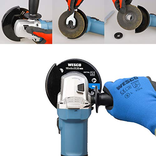 WESCO 750W Angle Grinder Tool, 11000RPM 115mm Angle Grinders with Auxiliary Handle, Spanner, Safety Guard for Grinding, Cutting, 3 Metal Grinding Wheels/WS4751.2