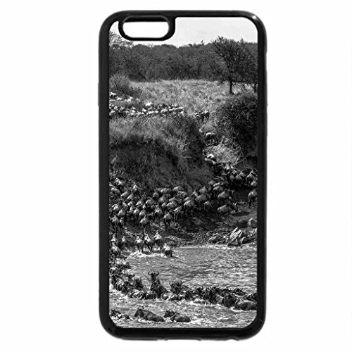 iPhone 6S Case, iPhone 6 Case (Black & White) - Migration crossing the Mara River, Africa