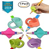 Bomach Pencil Writing Grips Tools Silicone Pen Grip Holder Training Kit Soft Handwriting Aid Posture Correction Utensils for Kids Comfortable Ergonomic Writing Upgraded Version (6 PCS)