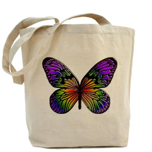 CafePress diseño de arco iris Mariposas–Gamuza de bolsa de lona bolsa, bolsa de la compra