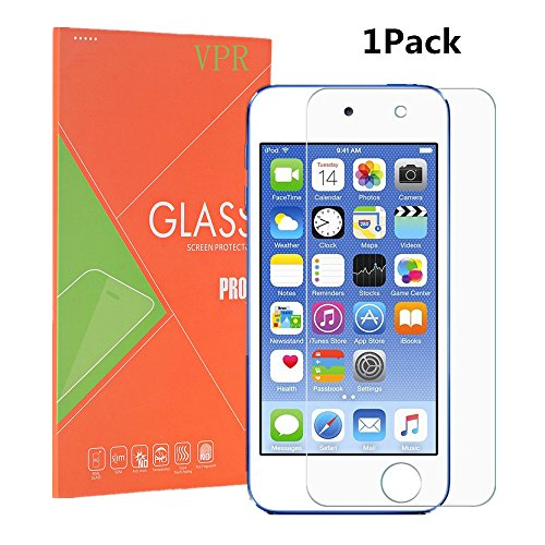 (iPod Touch 6 Screen Protector, VPR [1 Pack] Premium Tempered Glass [Ultra-Clarity] [Highly Responsive] [No-Bubble Installation] for iPod Touch 6th, 5th Generation, (1Pack))