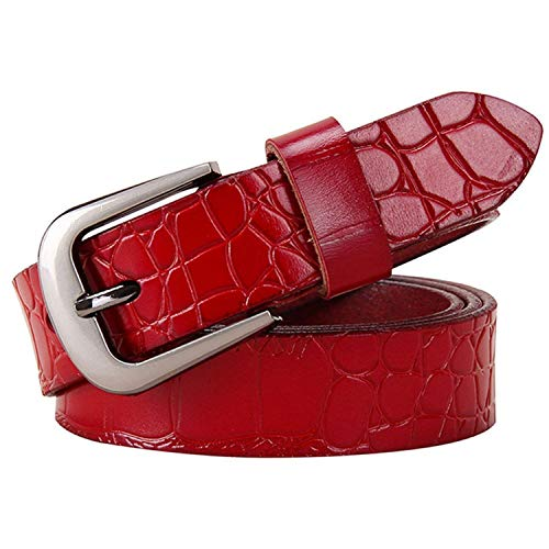 KEBINAI Women jeans Cow belt cowhide Pin buckle strap -
