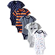 Gerber Baby Boys' 5-Pack Short-Sleeve Onesies,Sports,0-3 Months