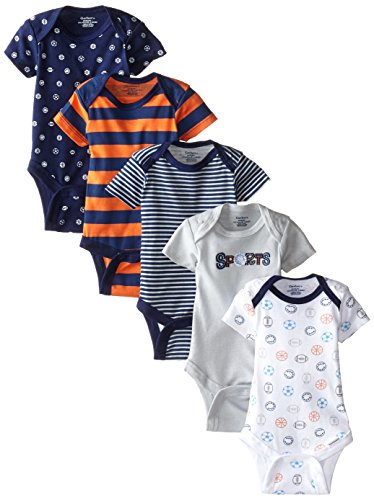 Gerber Baby-Boys Variety Onesies Brand Bodysuits, Sports, 6-9 Months (Pack of 5)