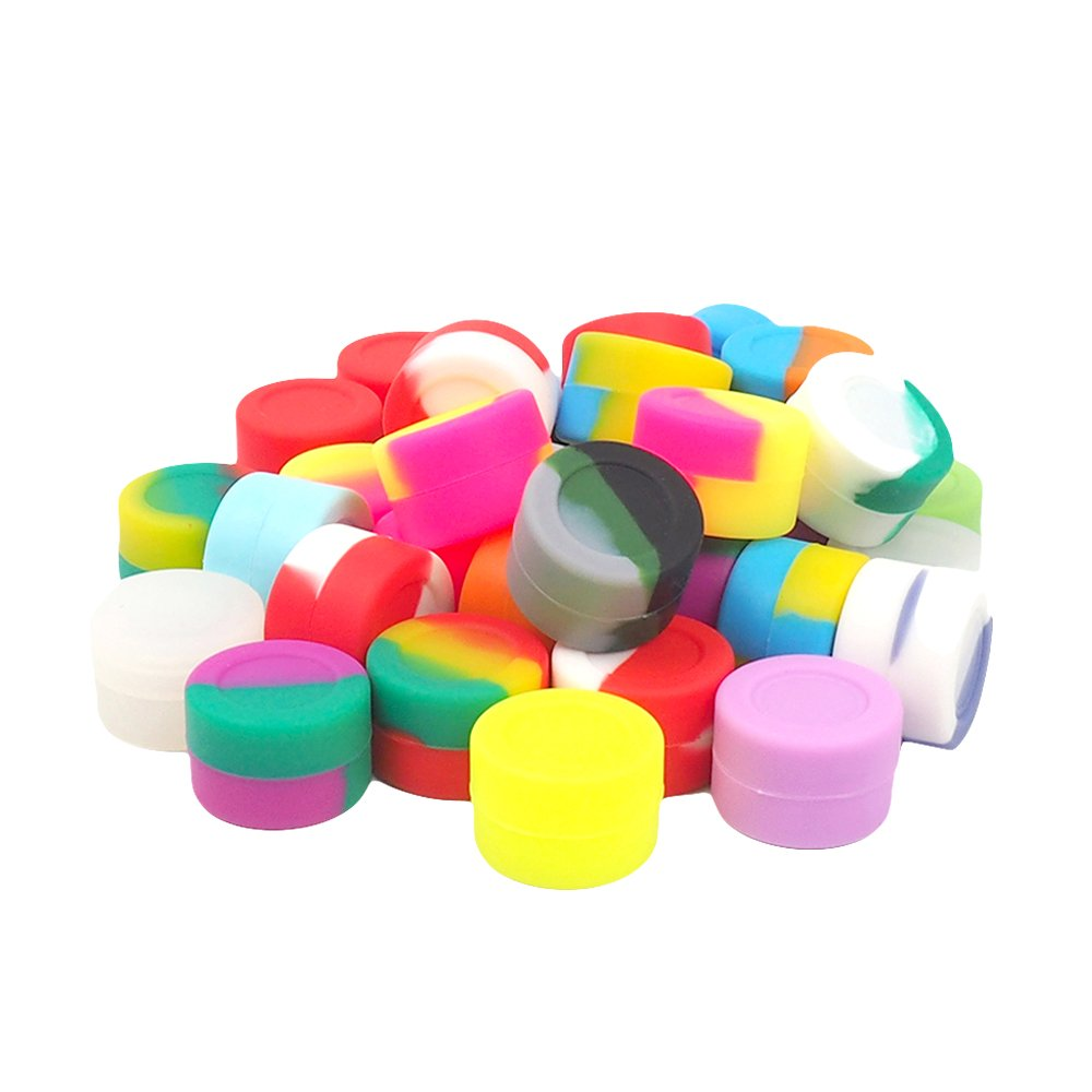 50cb458a6647 YHSWE 500Pcs 3ml Silicone Mini Container Oil Kitchen Wax Round Concentrate  Box Multi Use Storage Jar for lip Balm and Creams Assorted Random Color