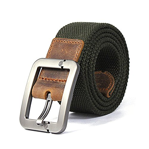 Buckle Grommets (Aenmil® Military Men's Canvas Web Belt Leisure Adjustable Stitch Belt Waistband with Kirsite Buckle and 9 Belt Holes Fabric Girdle For Waist 2.7-3.1)