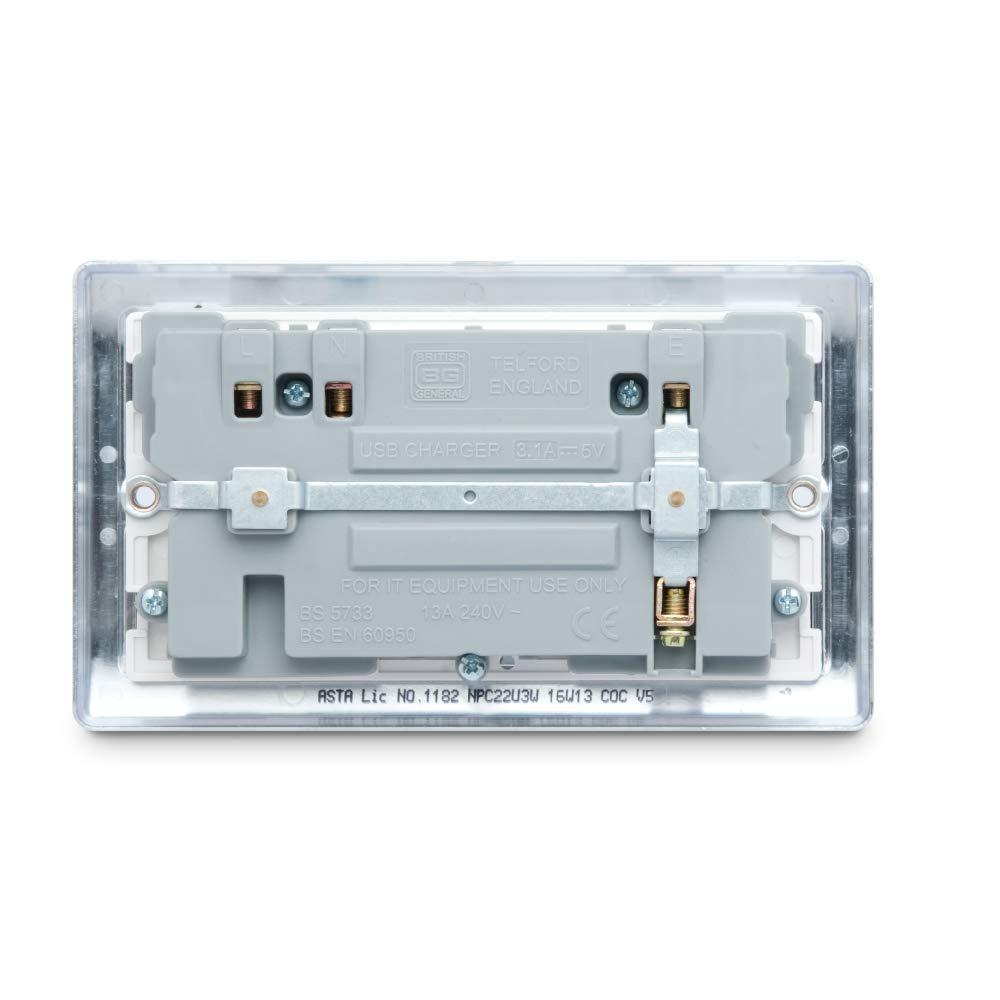 BG Electrical Nexus Masterplug Polished Chrome Double Switch Socket with 3.1 A USB White