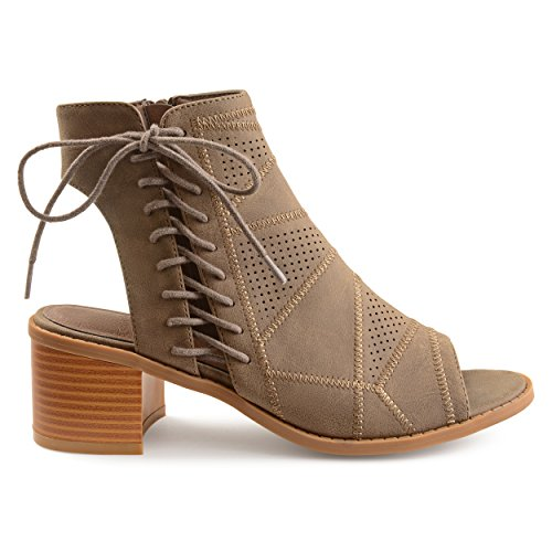 Brinley Co. Womens Elva Faux Leather Side Lace-up Perforated Cut-Out Heel Booties Brown, 9 Regular US