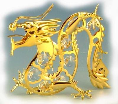 Dragon Gold & Crystal Ornament