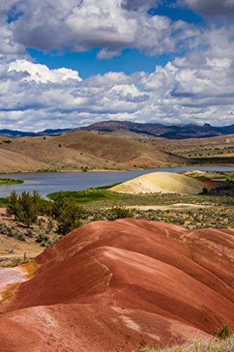 Painted Hills and Lake, Vertical. Fine Art Photographic Print for Home Decor in 8x10 8x12 11x14 12x18 16x24 20x30 24x36 sizes
