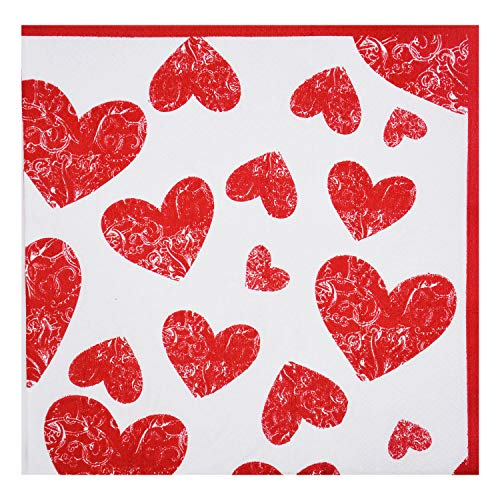 40 Count Party Napkins, Beverage &Cocktail Napkins,Bulk,2-Ply, 2 Packs of 20 Napkins),Decorative Paper Napkins 6.5x6.5 inch,Birthday,Anniversary,Mother's Day,Wedding,Bachelor party,Red Heart -