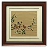 China Furniture Online Framed Silk Embroidery, Birds with Cherry Motif Wall Decorative Brown and Red