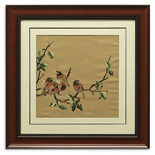 China Furniture Online Framed Silk Embroidery, Birds with Cherry Motif Wall Decorative Brown and Red by ChinaFurnitureOnline