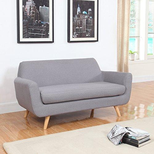 Mid Century Grey Linen Fabric Sofa And Love Seat (Love