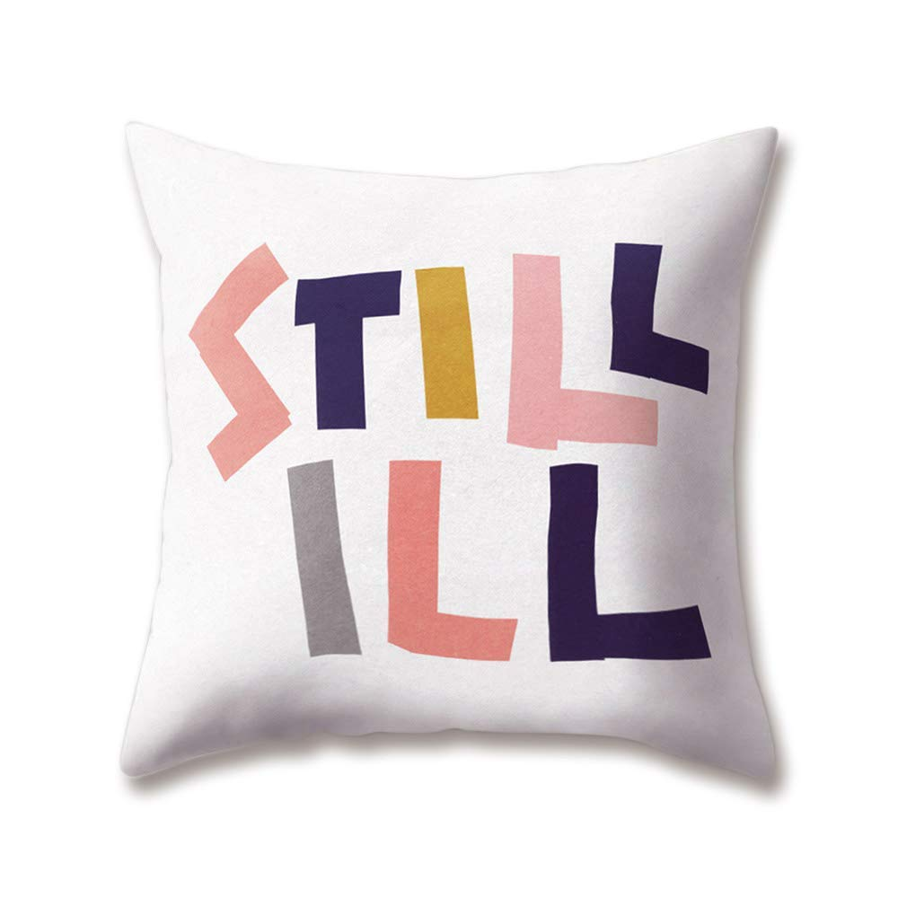 Soft Plush Cushion Covers Text Doodle OK STILL ILL RISE ...