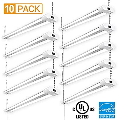 Amico Linkable 40W Led Shop Lights for Garage 4 Foot with Plug Fluorescent Lighting Fixture 4000LM 5000K Daylight (10 Pack)