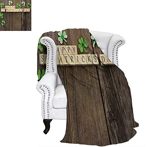 warmfamily St. Patricks Day Digital Printing Blanket Greetings with Wooden Blocks and Paper Shamrocks on Rustic Planks Image Lightweight Blanket 62