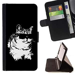 Jordan Colourful Shop - cat sunglasses cool black white feline For HTC DESIRE 816 - < Leather Case Absorci????n cubierta de la caja de alto impacto > -