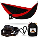 Cheap Traveler Fantasy Single/Double Camping Hammock, Durable Nylon Parachute Portable Ultraweight Hammock, Backpacking, Beach, Yard, Swing, Super Strong Straps & Carabiner (Raven Black with Berry Red)