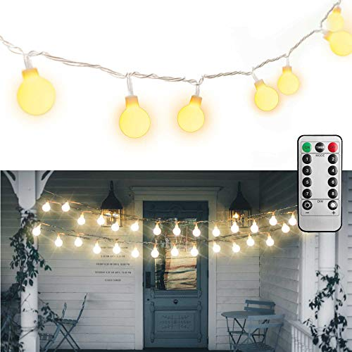 MineTom UL Listed 33 feet Crystal Ball 100 LED Globe String Lights with Remote & Timer, Warm White (Party Globe Lights)