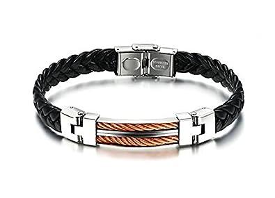f5568a26f84 Wiz  Style Bracelet Homme en simili cuir noir tressé avec fermoir à boucle  - plaque