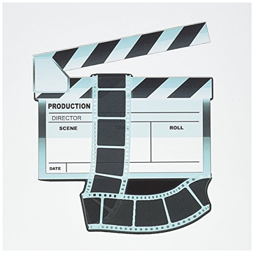 3dRose Greeting Cards, 6 x 6 Inches, Pack of 12, Turquoise and White Movie Clapboard (gc_101296_2)
