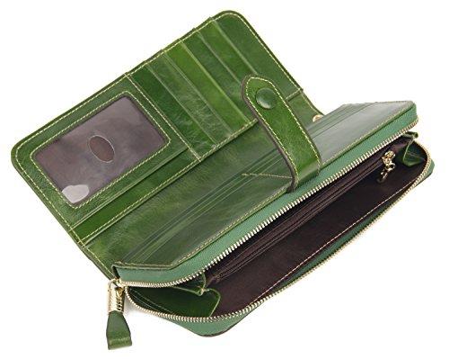 51xEwyp1ihL - Anvesino Women's RFID Blocking Real Leather Wallet Ladies Zipper Wristlet Clutch Green