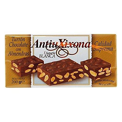 Antiu Xixona - Turrón Chocolate con Almendras Etiqueta Blanca Estuche, 200 g: Amazon.es: Alimentación y bebidas