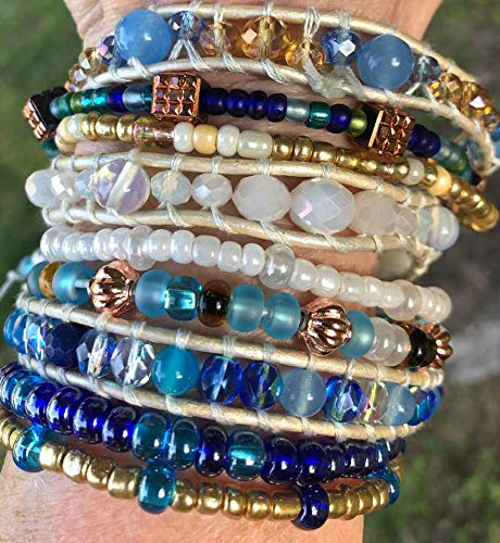 Leather Wrap Bracelet, Genuine Sapphires, Moonstones, Jade, Awuamarine, Jasper, Aquamarine, Crystals, Copper & Czech glass beads.