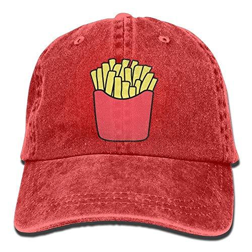 DEFFWB Hat French Fries Denim Skull Cap Cowboy Cowgirl Sport Hats for Men Women