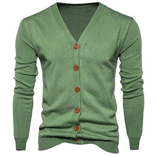 Button Only Vest (Men top ,IEason Men Autumn Winter Button V Neck Long Sleeve Knit Sweater Cardigan Coat (XL, Green))